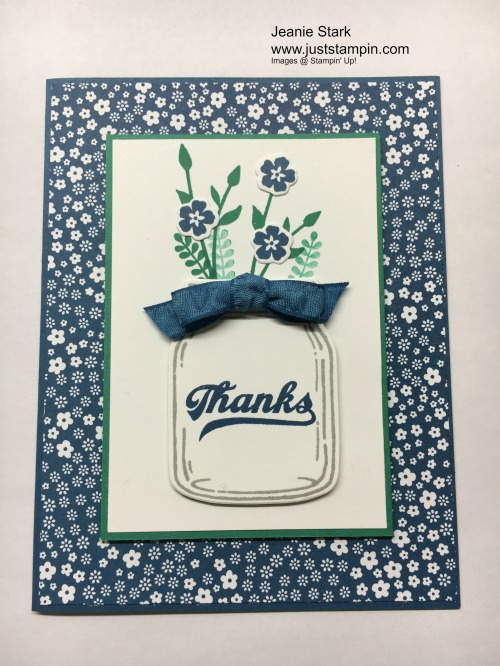 Stampin Up Jar of Love Thank You card idea- Jeanie Stark StampinUp