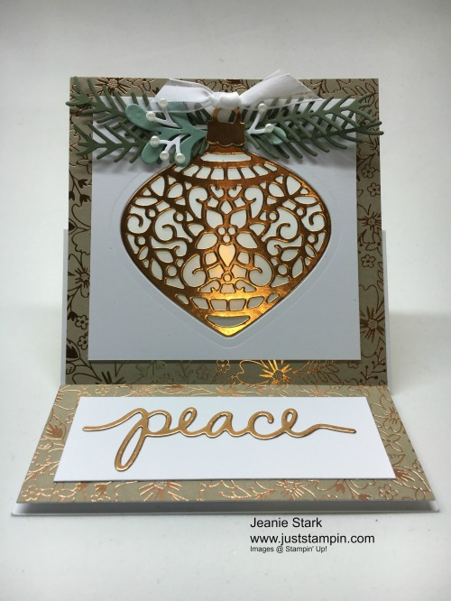 Stampin Up Delicate Ornament Fun Fold Easel Christmas card idea - Jeanie Stark Stmapin Up