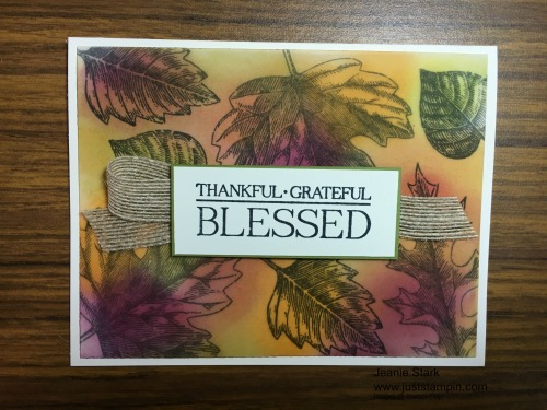 Stampin Up Vintage Leaves Thankful card idea - Jeanie Stark StampinUp