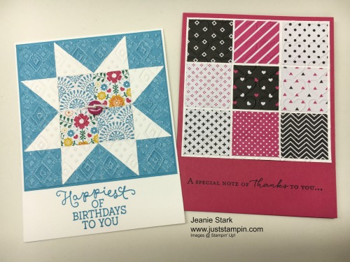 Stampin Up Birthday Blooms and Floral Phrases Quilt card ideas - Jeanie Stark StampinUp