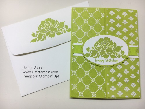 Stampin Up Floral Phrases and Fresh Florals Gate Fold birthday card idea - Jeanie Stark StampinUp