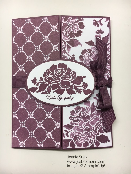 Stampin Up Floral Phrases and Teeny Tiny Wishes Gate Fold Sympathy card idea - Jeanie Stark StampinUp