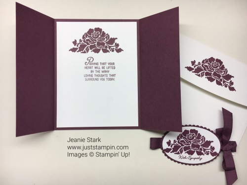 Stampin Up Floral Phrases and Flourishing Phrases Gate Fold Sympathy card idea - Jeanie Stark StampinUp