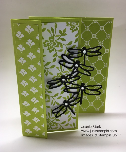 Stampin Up Fun fold card with Detailed Dragonfly Thinlits. For more fun fold card ideas, directions, and inspiration, visit my blog at www.juststampin.com