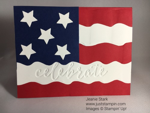 Stampin Up Fourth of July Flag card made with Celebrations Duo Embossing Folder and Ruffled 3D Textured Impressions Embossing Folder. See more card & gift ideas @ juststampin.com