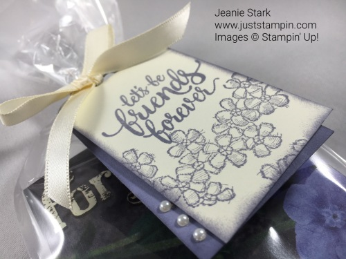 Stampin Up gift tag using Scalloped Tag Topper Punch, Eastern Beauty and Birthday Blossoms stamp sets. For more gift and card ideas visit www.juststampin.com