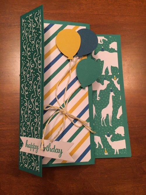 Stampin Up Fun Fold Birthday Card showcasing Party Animal Designer Series Paper. For more fun fold cards and inspiration visit www.juststampin.com