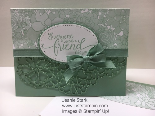 Stampin Up So Detailed Thinlits Die and Suite Sentiments thank you friend card idea - Jeanie Stark StampinUp