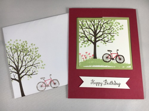 Stampin Up fun fold birthday card with Sheltering Tree stamp set. Created by Susan Kuenzel for Just Stampin' Fun Fold Card Swap. For more Fun Fold card ideas visit www.juststampin.com