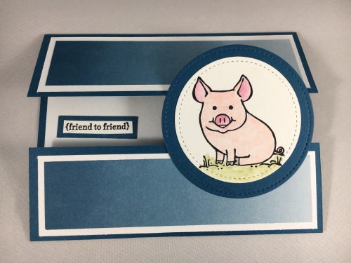 Stampin Up Fun Fold friend card with This Little Piggy stamp set. Check out my blog for more fun folds and card inspiration. www.juststampin.com
