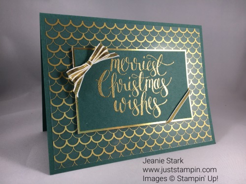 Stampin Up Watercolor Christmas card idea with Fabulous Foil Acetate - Jeanie Stark StampinUp For inspiration and supplies visit www.juststampin.com