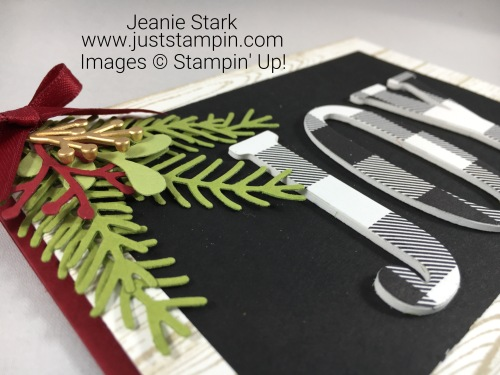 Stampin Up Perfect Pines and Large Letters Framelits Christmas card idea - Jeanie Stark StampinUp