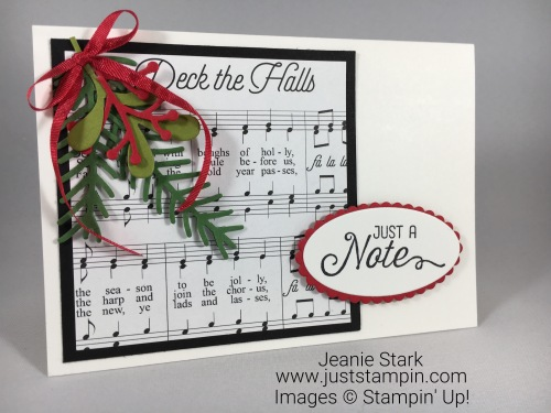 Stampin Up Merry Music Specialty Designer Series Paper note card idea - Jeanie Stark StapinUp