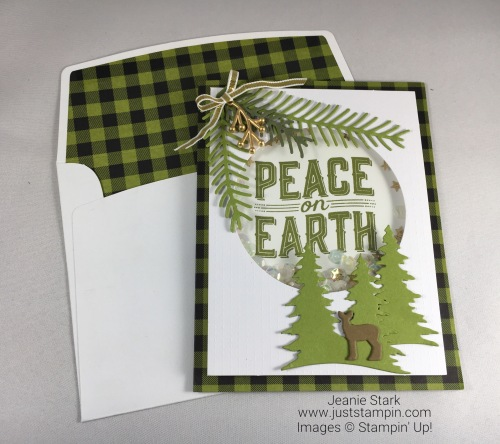 Stampin Up Pining for Plaid Paper Pumpkin kit alternative idea using Pretty Pines Thinlits and Carols of Christmas Bundle - Jeanie Stark StampinUp