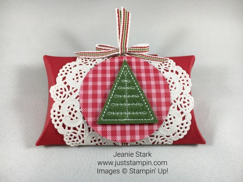 Stampin Up Trim Your Stockings Thinlits Dies Pillow Box Idea - Jeanie Stark StampinUp