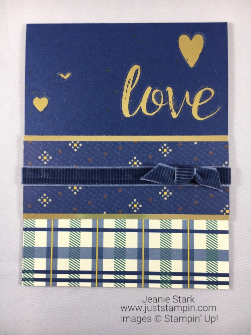 Stampin Up True Gentleman card idea with Painted Love Gold Vinyl Stickers - Jeanie Stark StampinUp