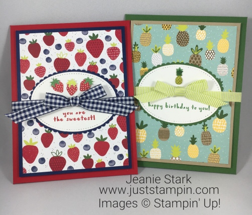 Stampin Up Envelope Punch Board and Fruit Basket Bundle card ideas to hold treats - Jeanie Stark StampinUp
