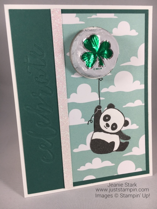 Stampin Up Party Pandas Celebrate card idea for birthday or St. Patrick's Day - Jeanie Stark StampinUp