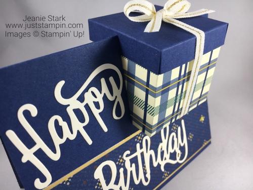 Stampin Up Happy Birthday Thinlits and True Gentleman masculine birthday card and gift box idea - Jeanie Stark StampinUp