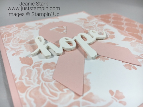 Stampin Up Sunshine Wishes Thinlits and Support Ribbon Framelits card idea for breast cancer patients - Jeanie Stark StampinUp