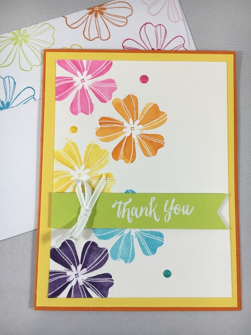Stampin Up Flower Shop Thank You card idea - For ideas, ordering, and more, visit www.juststampin.com Jeanie Stark StampinUp