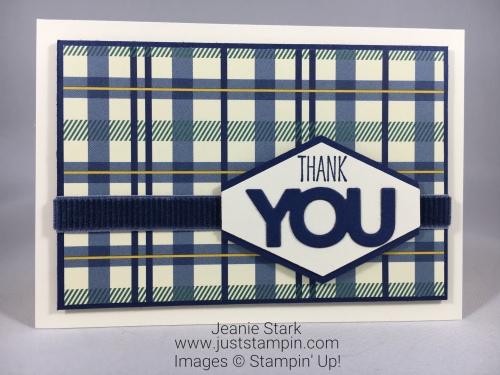 Stampin Up True Gentleman thank you card idea- Jeanie Stark StampinUp